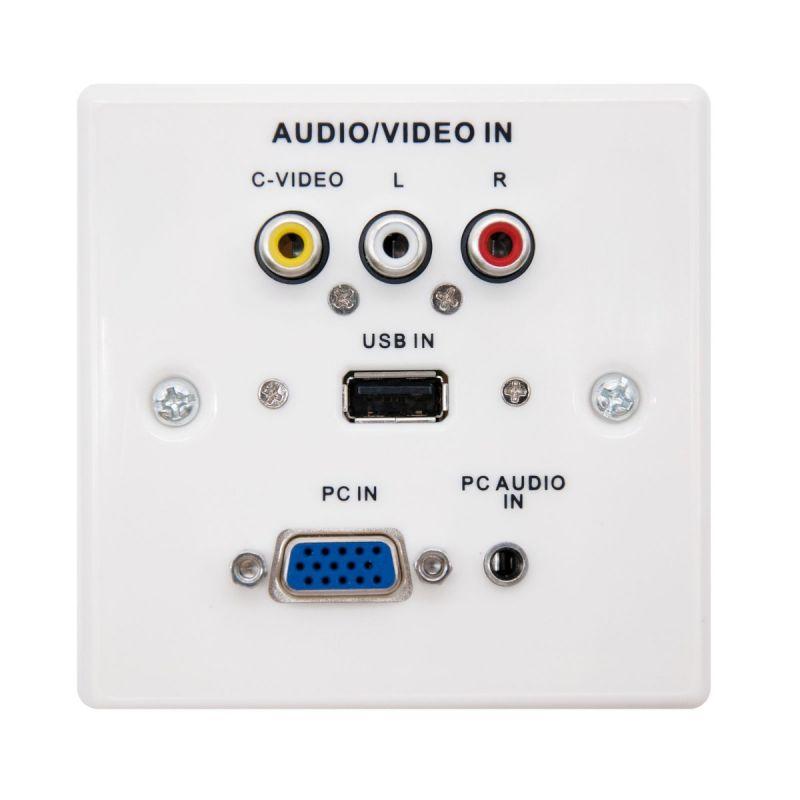 Tomada de parede SVGA+JACK3.5+USB2.0+3xRCA com caixa, Branco