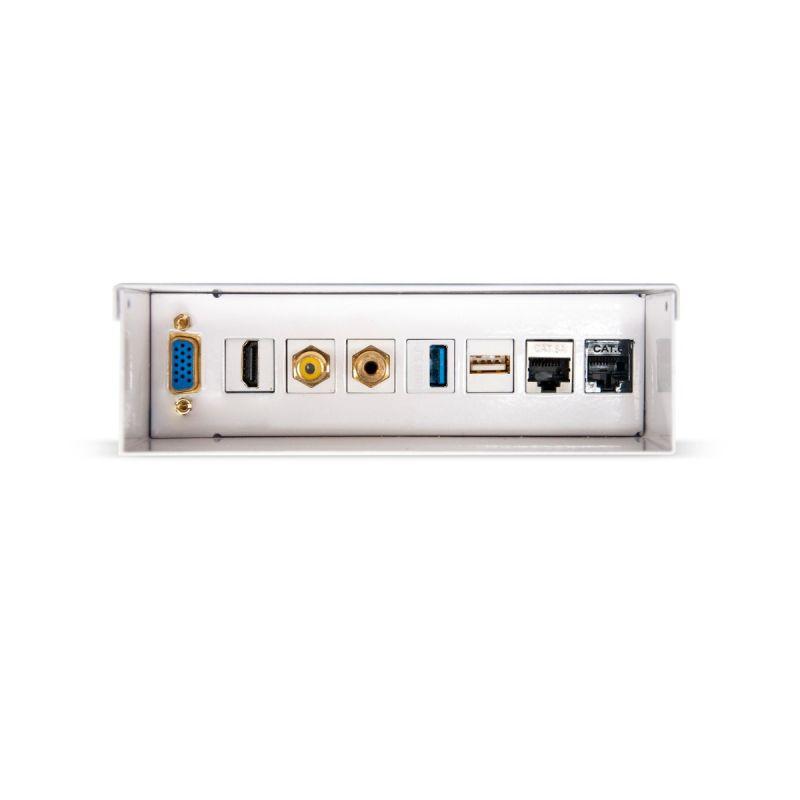 Caixa de junção de parede multimédia VGA + HDMI + JACK3.5 + RCA + 2xUSB + 2xRJ45, branco
