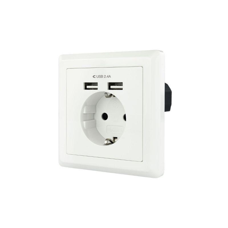 Conector de parede schuko com 2 tomadas USB Máx. 2.4A, branco